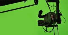 Virtual production studio camera against green screen chroma key background 4K - stock footage