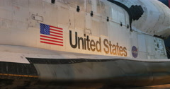 Space Shuttle with American Flag at Air and Space Museum, 4K Stock Footage