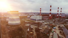 Aerial view of power station and huge oil plant in Russia. Flights above oil Stock Footage