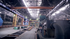 Automated robotics welding line at a heavy industry plant Stock Footage