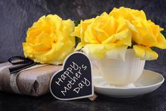 Mothers Day yellow roses Stock Photos