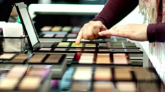 A wide range of face powder and tonal compositions for probes in the store. - stock footage