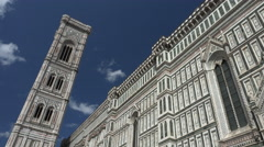 Tilt down, bells ring, Bell Tower, Duomo, Florence, Italy Stock Footage