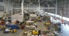 Aircraft Restoration Floor at Air and Space Museum in Chantilly, VA Stock Footage