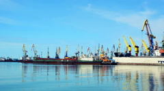 Operation of the crane in port Stock Footage
