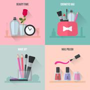 Make up flat icons. Square composition banners - stock illustration