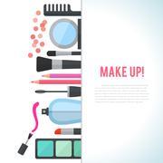 Make up concept flat illustration with cosmetics Stock Illustration