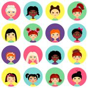 Multinational female face avatar profile heads Stock Illustration