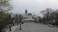 The view on the Port of Odessa and Odessa hotel from the Potemkin Stairs Stock Footage