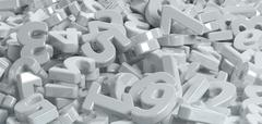 Pile of white figures numbers Stock Illustration