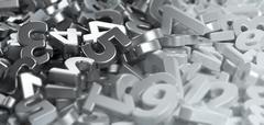 Pile of metalic figures numbers Stock Illustration