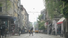 Bulgaria Sofia city center in the morning - old tram Stock Footage