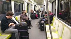 Passengers riding on a Metro Subway Car Stock Footage