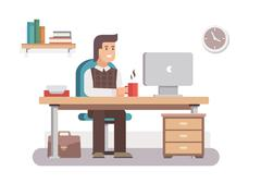 Man office worker - stock illustration
