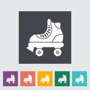 Roller skate flat icon - stock illustration