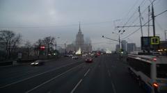Moscow, Russia - February 21.2016. Motion along Novoarbatsky bridge to  Radisson Stock Footage