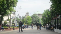 Bulgaria Sofia city center - people walking on the street Stock Footage