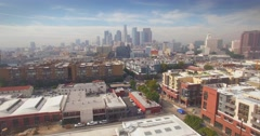 Aerial descending Arts district downtown Los Angeles skyline graffiti mural 4K Stock Footage