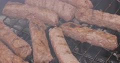 Grilled minced meat is smoked on the grill Stock Footage