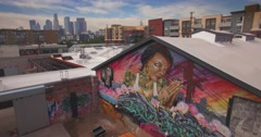 Arts district downtown city Los Angeles urban graffiti mural aerial view 4K UHD Stock Footage