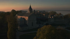 Aerial Shot of European Medieval Church Stock Footage