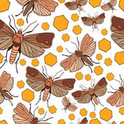 seamless pattern with wax moth - stock illustration