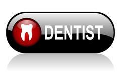 dentist long glossy black banner - stock illustration