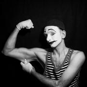 Black and white Portrait of mime actor Stock Photos