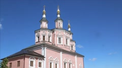 Orthodox church on the sky background time lapse Stock Footage
