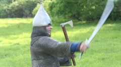 knight fighting with swords - stock footage