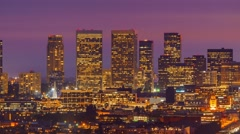 Zoom in Century City skyline twilight night transition Los Angeles 4K Timelapse Stock Footage