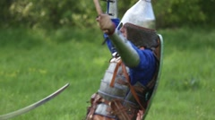 Knight fighting with swords Stock Footage