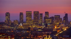 Century City skyline sunset dusk night transition Los Angeles 4K UHD Timelapse Stock Footage