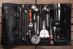 Set of barman equipment in case - stock photo
