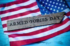 Text armed forces day and flag of the United States Stock Photos