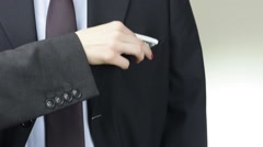 Businesswoman pay corruption money to businessman pocket, closeup - stock footage