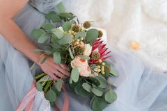 Wedding boho bouquet with eucalyptus Stock Photos
