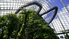 Singapore. Circa March 2016. Tourists in the Cloud Forest Dome inside the Stock Footage