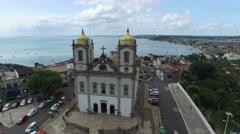 Aerial View of Igreja Nosso Senhor do Bonfim da Bahia church Stock Footage