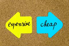 Message Expensive versus Cheap - stock photo