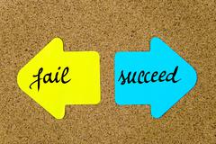 Message Fail versus Succeed - stock photo