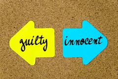 Message Guilty versus Innocent - stock photo