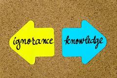 Message Ignorance versus Knowledge - stock photo