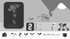Faroe Islands - Agriculture - Vector Animation - grey Stock Footage