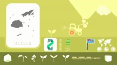 Fiji - Agriculture - Vector Animation - yellow Stock Footage