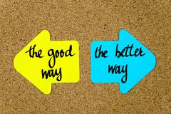 Message The Good Way versus The Better Way - stock photo