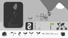 Saint Vincent and the Grenadines - Agriculture - Vector Animation - grey Stock Footage
