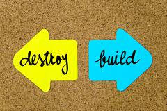 Message Destroy versus Build - stock photo