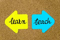 Message Learn versus Teach - stock photo