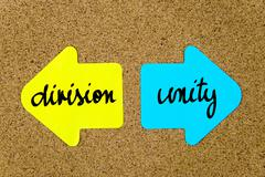 Message Division versus Unity - stock photo